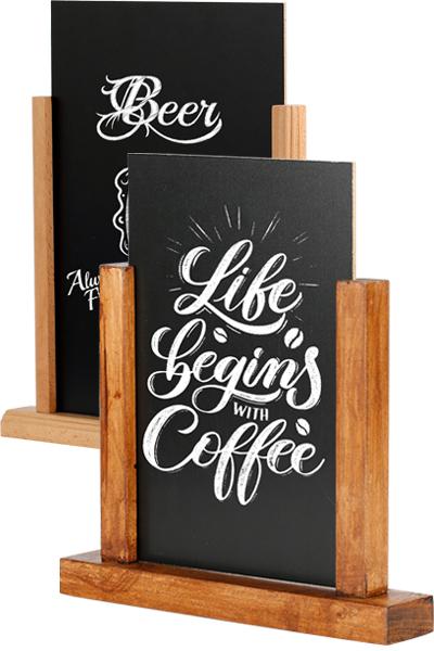 Wooden Menuholder Chalkboard