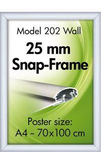 Alu Snap-Frame, Væg, 25 mm, sølveloxeret