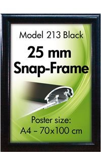 Alu Snap-Frame væg 25 mm sort