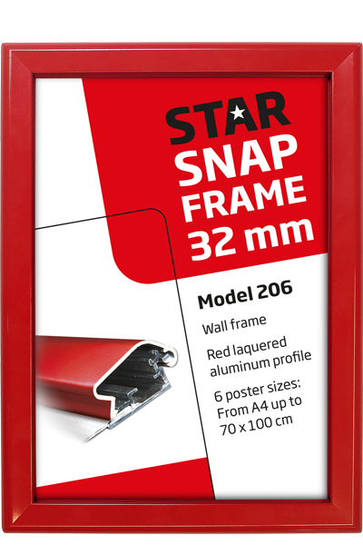 Alu Snap-Frame, wall, 32 mm - red