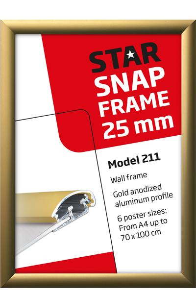 Alu Snap-Frame væg 25 mm guldeloxeret - mat