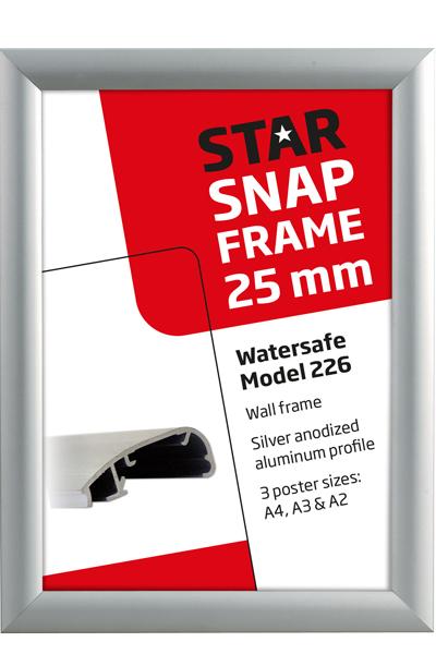Alu Snap-Frame Watersafe væg 25 mm sølv
