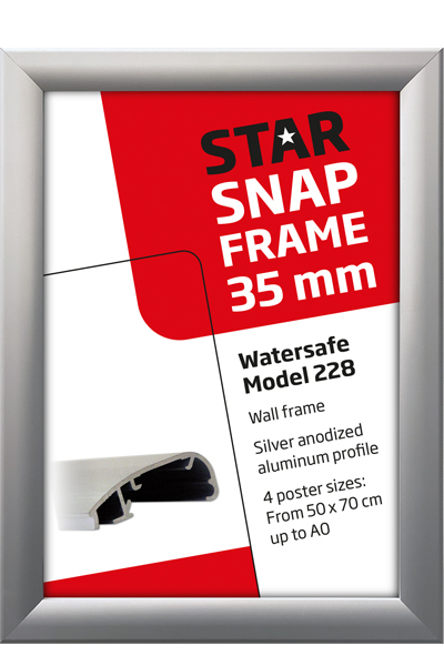 Alu Snap-Frame Watersafe væg 35 mm sølv