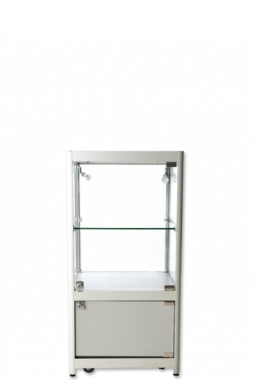 Showcase Counter, Solo, with locker - Silver. LED