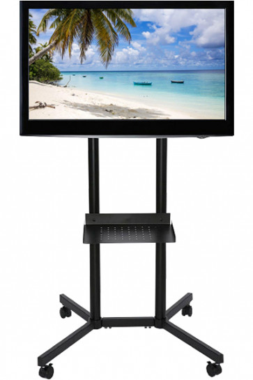 TV-stand Slimline with shelf, black