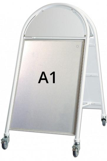 New Gotik LUX pavement board w/wheels, 32mm. Poster size A1,  white