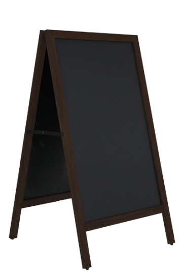 Wooden Pavement Sign with Steel Board 59x78cm - Black Stained Beech