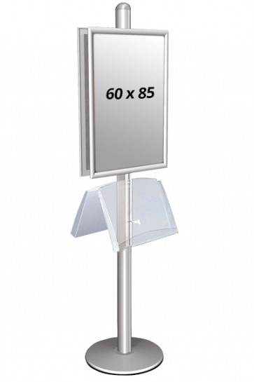 MULTISTAND 2 Double sided with steelshelve 25mm 2 x 60x85 cm Alu