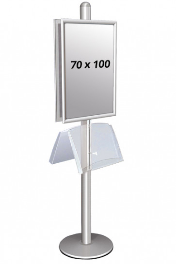 MULTISTAND 2 Doublesided with steelshelve 25mm 2 x 70x100 cm Alu
