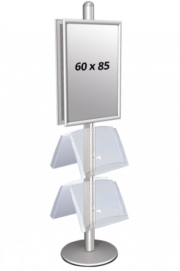 MULTISTAND 4 Double sided with 2 acryl shelve 25mm 2 x 60x85 cm Alu
