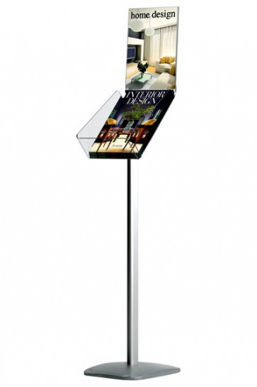 EXPO BROCHURE STAND A4 alu with Info Top - vertical