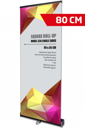 Square Roll-Up, Black, Single sided, 80 cm