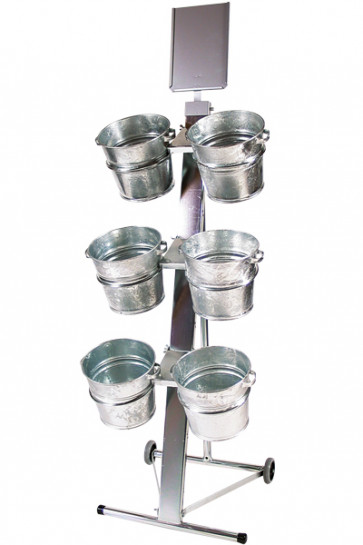 Shop Display with 6 buckets, A4 sign holder