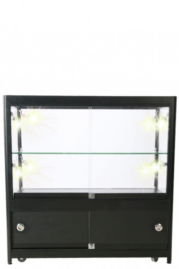 Showcase Counter, Duo, with Locker.  Black. LED