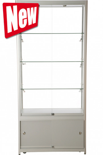 Showcase Tower, Duo, with locker - Silver. LED