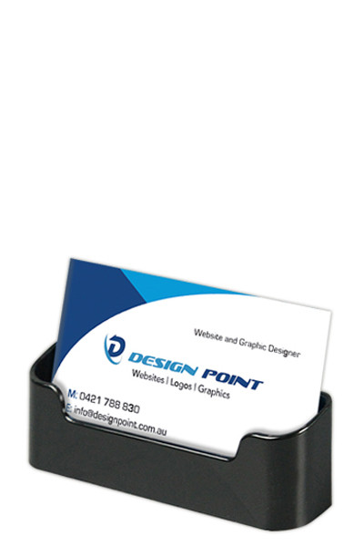 Business Card Holder Rounded Horizontal Black