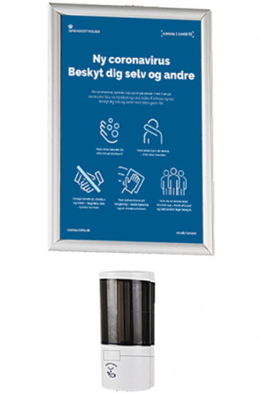 Hand Dispenser 500 ml and Alu Snap Frame A3 - Wall Set