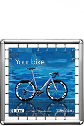 Omni Banner Frame, Banner size 150x150cm. Incl. hook with bungee cord. Without eyelets