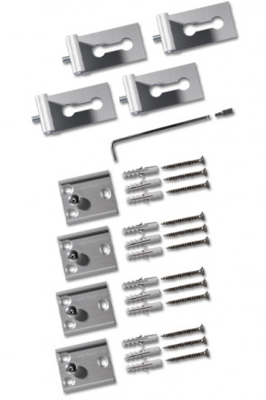 Complete set of 4 pcs. two parts Alu fittings, inkl. screws etc. for Outdoor Banner profile