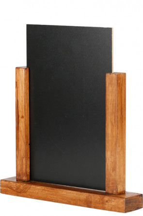 Wooden Menuholder Chalkboard, dark wood, A5