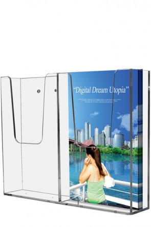 Acrylic Wall Brochureholder Double M65 clear