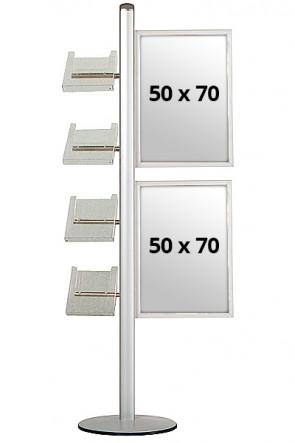 MULTISTAND 18 Single sided 2x(50x70cm) Slide-in + 4xA4 Shelves