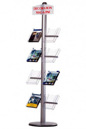 MULTISTAND 20 Single sided, 8 pcs. A4 Shelves + logoplate