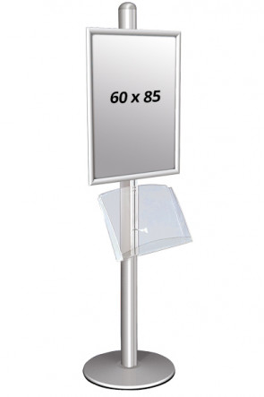 MULTISTAND 1 Singlesided with acrylic shelve 25mm 1x 60x85 cm Alu