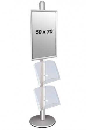 MULTISTAND 3 Single sided with 2 acryl shelve 25mm 1 x 50x70 cm Alu