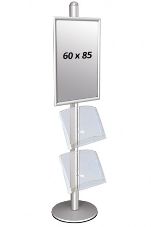 MULTISTAND 3 Single sidee with 2 acryl shelve 25mm 1 x 60 x 85 cm Alu