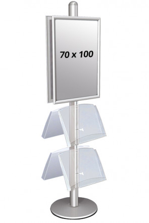 MULTISTAND 4 Double sided with  2 acryl shelve 25mm 2 x 70x100 cm Alu