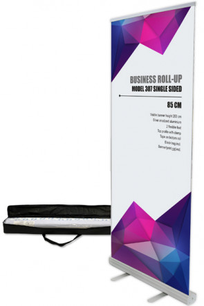 Business Roll-up, Single sided Model 85 - alu. Bag with long zipper