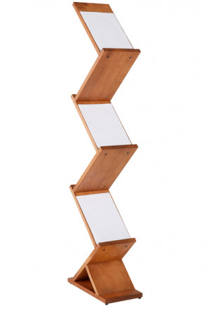 Wooden Brochureholder Zig Zag. 5xA4