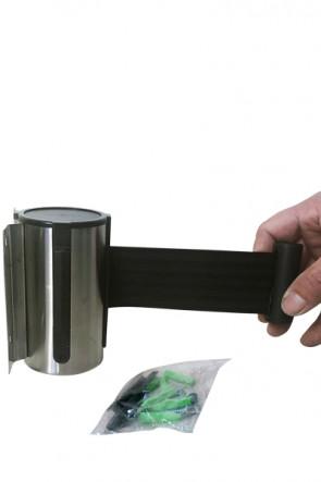 Crowd Barrier, Wall Dispenser, Stainlees Steel with 3meter Black belt