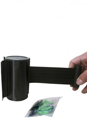 Crowd Barrier, Wall Dispenser, Black with 3meter Black belt
