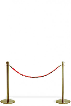 Crowd Control System, 2 poles with red rope. Gold System