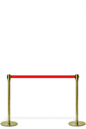 Crowd Control System, 2 poles with Red belt. Gold System