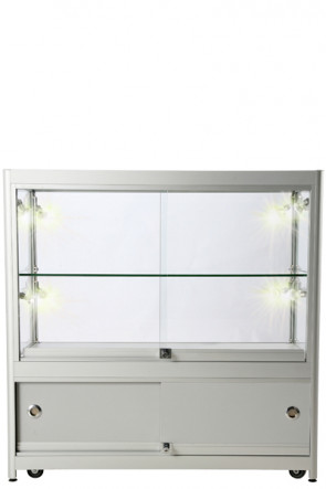 Showcase Counter, Duo, with Locker - Silver. LED