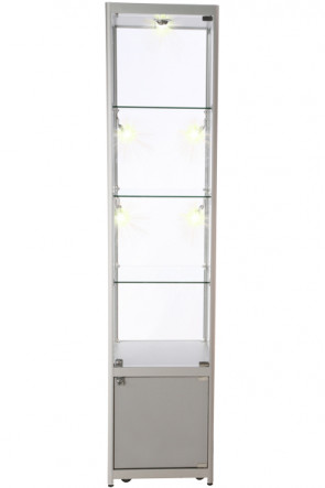 Showcase Tower, Solo, with locker - Silver. LED