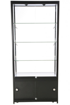 Showcase Tower, Duo, with locker - Black. LED