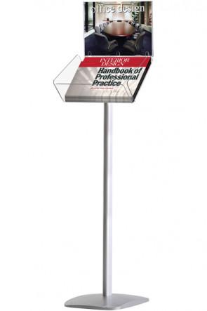 BROCHURESTANDER A4  Alu med Akryl Info Top - horizontal.  Firkantet fod